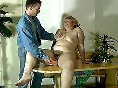 Guy dildoing old fatty
