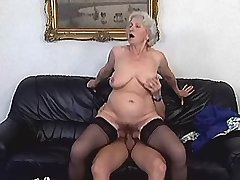 Greyhaired lewd granny sucking and jumping on dick